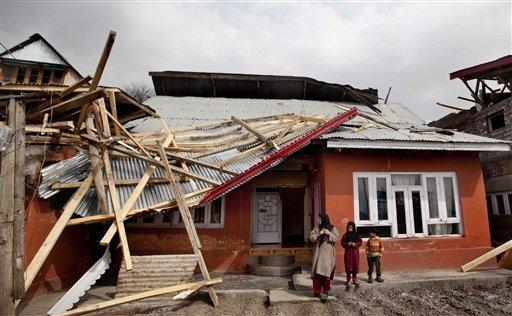 Kashmir wind storm damaged Srinagar cyclone killed